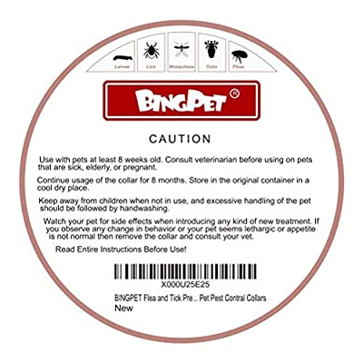 BINGPET Flea and Tick Collar Prevention for Dogs - 8 Month Dog Flea Treatment Collar One Size Fits ALL Pet Pest Control Collars from BINGPET