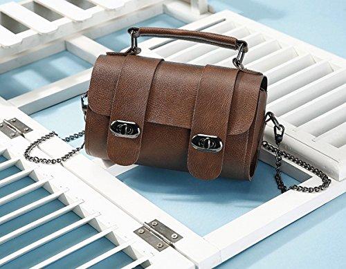 Eimer tasche handtasche Schulter Schräge Kreuz Die Kette der weiblichen einfachen mini-tasche Dunkelbraun