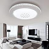 ETiME LED Kristall Deckenleuchte Rund Deckenlampe Deckenbeleuchtung Wohnzimmer Schlafzimmer Esszimmer Lampe Badleuchte (Kaltweiß ohne FB, Rund 78cm)