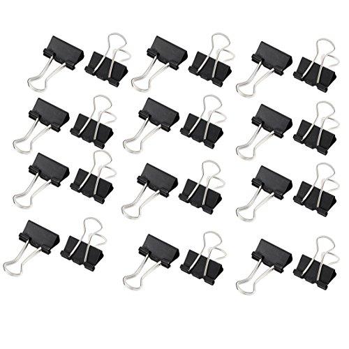 Metal Escritorio Papel de oficina Documento Papelería Clips de la carpeta 24PC Negro width=