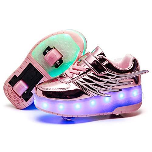 Zapatillas con Ruedas,Niños Niñas LED Luces Luminosas Flash Zapatos de Skate Al...