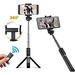 Ulanzi 3 in 1 selfie stick treppiede con 360 ° di rotazione del supporto a clip e telecomando Bluetooth per iPhone 7 Plus/Xiaomi 6/Huawei/Samsung/smartphone Android(Nero)
