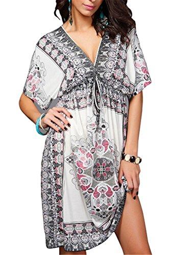 Tenxin Damen Kleider Retro Nationale Wind Hals Kleid Lose Strand Tunika Kleid Bluse Kleider Strandtunika Sommerkleid Chiffon Kleider Kurz ()