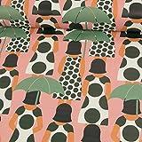 Stoffe Werning Regenjackenstoff Frau mit Regenschirm rosa Outdoorbekleidungen Modestoffe - Preis Gilt für 0,5 Meter