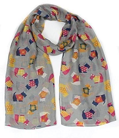 Ladies Multi Scottie Dog tartan Jacket Print Fashion Scarf Neck Wrap by Joy To Wear (Grey)