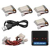 WFHhsxfh 4 Pezzi 3.7 150mAH Li-po Batteria PH2.0 Spina + Caricatore USB 4in1 + Cavo convertitore for JJRC H36 NIHUI NH010 RC Quadcopt BC736. Accessori elettronici