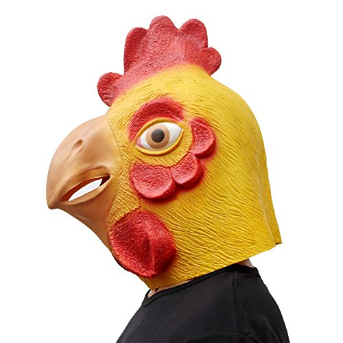 CreepyParty Deluxe Novelty Halloween Costume Party Latex Animal Head Mask Rooster