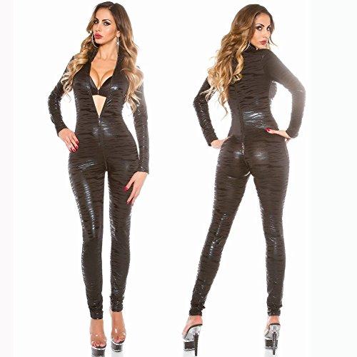 GRONG Western-Stil Leder Sexy Unterwäsche Sexy Overalls, Muster Lackleder Lange Overalls für Stahl Tanz Nachtclub Wilden (Mädchen Tanz Western Für Kostüme)
