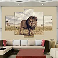 BUER Living room decoration home modern canvas picture 5 pieces animal lion landscape poster modular frame painting wall art