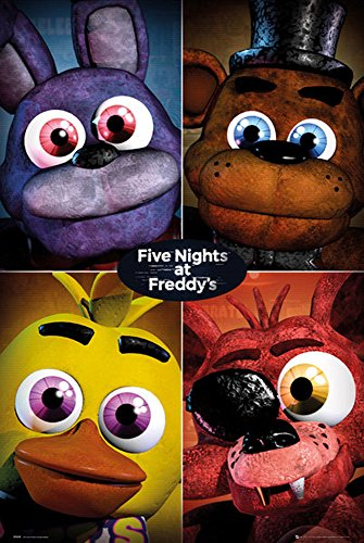 Empireposter 745521 Five Nights at Freddys – Quad – Game Poster Video Game Poster Size 61 x 91.5 cm Paper Multi-Coloured 91.5 x 61 x 0.14 cm