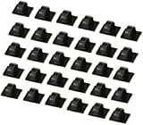 Cable Clips 30 PCS Self-adhesive Cable Ties Plastic Rectangle Cable Holder Wire Clip Cable Tidy Quickly Tie and Untie the Cord for Desks Tables Walls Filing Cabinets Furniture