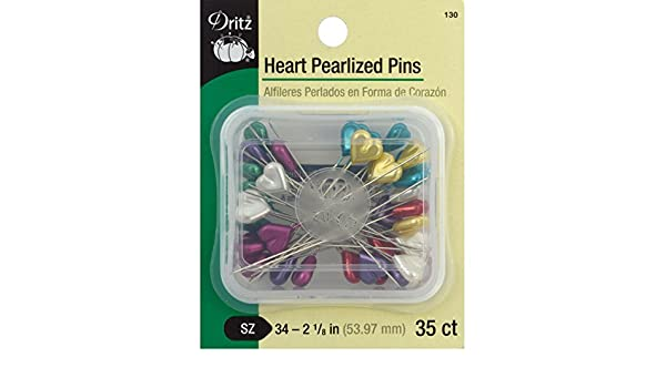 Dritz 130 Heart Pearlized Pins-Size 34 35//Pkg