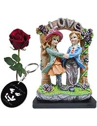 Valentine Amazing Gift Set Lover's Statue Printed Keychain Artyficial Rose Best Gift Friend For Valentine Day...