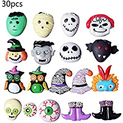 RUINAIER 30 botones de fondo plano para Halloween, resina esmaltada, manualidades