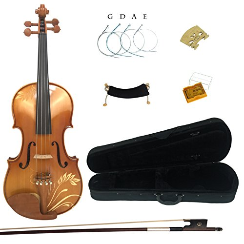 kinglos-4-4-flower-carved-ebony-fitted-solid-wood-violin-kit-with-case-shoulder-rest-bow-rosin-extra