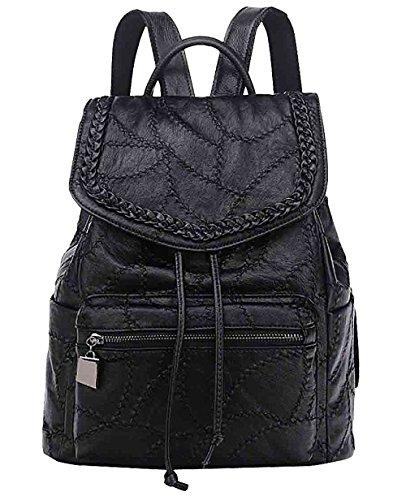 ibliche Tasche Schaffell Student Rucksack Damen Personalisierte Trend Handtasche,Black-OneSize (Weibliche Assistenten)