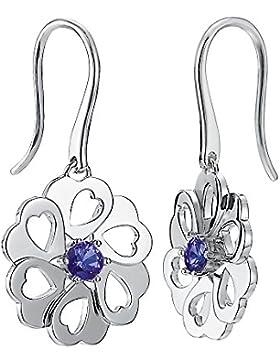 Pierre Cardin Damen-Ohrhänger 925 Sterling rhodiniert Glas Zirkonia La Fleur blau