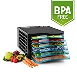 Klarstein Fruit Jerky Pro 6 Automatic Food Dehydrator • Food Dryer • 630 W • 6 Stackable Trays • Adjustable Temperature up to 68° C • Stainless Steel • BPA Free • Dishwasher Safe • Sturdy for Better Heat Circulation and to Protect the Drying Levels • Black