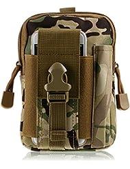 DOHOT Tactical Molle EDC bolsa compacta utilidad gadget cintura bolso paquete con funda de teléfono celular para IPhone 6 Plus (CP Camuflaje)