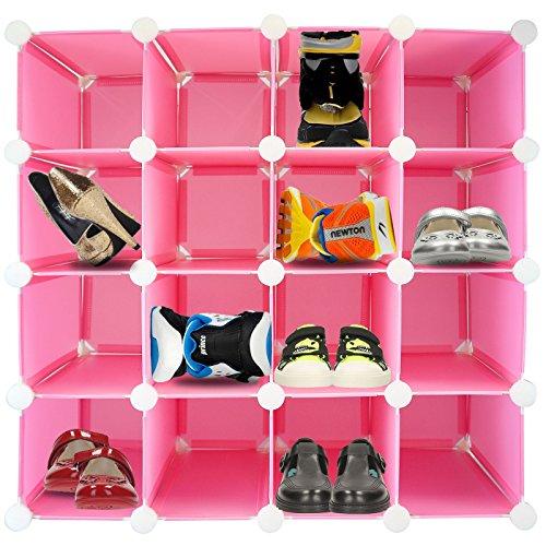 Schuhregal für 16Paar Schuhe, zusammensteckbar, Kunststoff mit verstärktem Stahl-Rahmen, Würfelform rose (Weiß-schwarz-kleidung Zu Speichern)