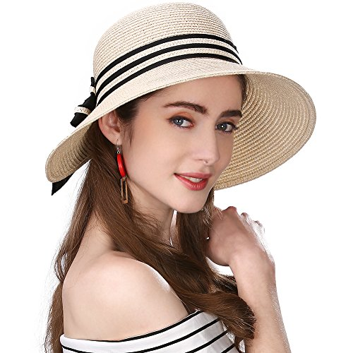 SIGGI beiger Stroh faltbarer UPF 50 + Sonnen Shade Strand Sonnenhut für Damen breite Krempe (Stroh-sonnenhut Frauen)