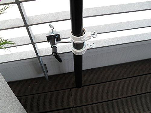2 x BALKON - HALTERUNG für SCHIRM STÖCKE von 25 bis Ø 42 mm - für Außen oder Innen Befestigung...