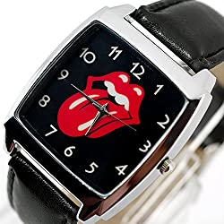 TAPORT® ROLLING STONES Quartz SQUARE Watch Black Real Leather Band +FREE SPARE BATTERY+FREE GIFT BAG