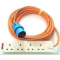 5m Cable de extensión adaptador de 4Vías para tienda de campaña Camping eléctrica gancho cable de 13a a 16A, motohomes, barcos–Heavy Duty Caravan eléctrico Hook Up