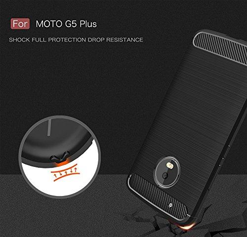 EKINHUI Case Cover Dünne und leichtgewichtige gebürstete Carbonfaser robuste Rüstungsrückseiten-Abdeckungs-Stoßdämpfer-Fall Stoßfeste Tropfenwiderstands-Shell-Abdeckung für Moto G5 Plus ( Color : Gree Red