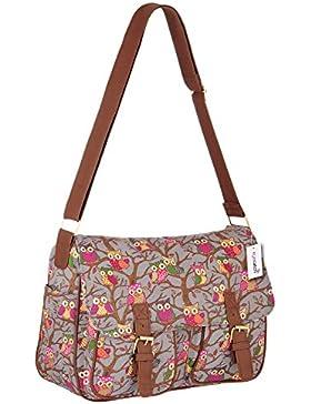 EyeCatch TM - Damen Messenger Bag College Tasche mit Eulen Muster
