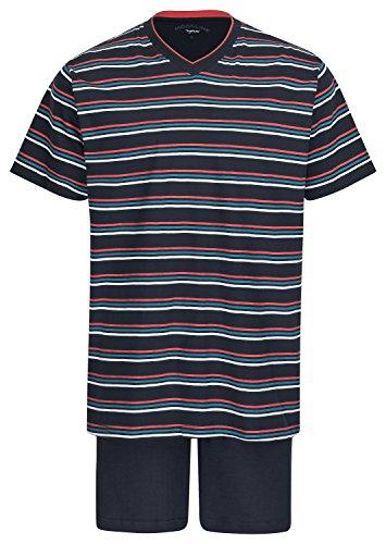 Herren Schlafanzug kurz Pyjama 100% Baumwolle Gr. M L XL XXL / 50 52 54 56 Navy