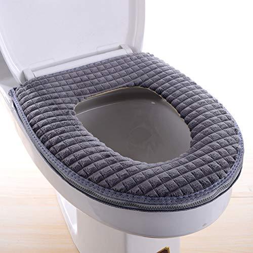 Romdink Toilette Sitzbezüge, Badezimmer Weich Warme Waschbar Toilleten Sitz Abdeckungskissen, Warmer WC-Sitzbezüge Toilettensitzabdeckung Toilettensitz