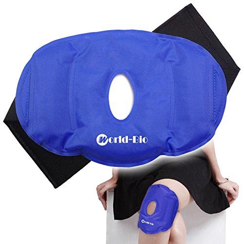 """Kälte-therapie Pad-tasche (kühlkissen gel kühlakku Wiederverwendbares Knie Eispack für Schmerzverminderung Geschwollene Sportverletzungen Blau, Atmungsfähiges Design mit Einstellbarem Klettbandverschluss, (9.6"""" X 6.5""""))"""