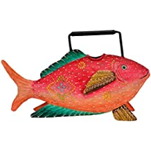 dekorative große Gießkanne als Fisch Metall handbemalt