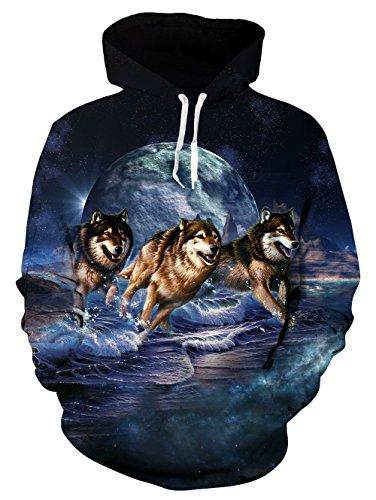 Loveternal Unisex drei Wolf Moon Hoodies gedruckten coole leichte Crewneck Pullover Kapuzen-Sweatshirts für Damen Herren L