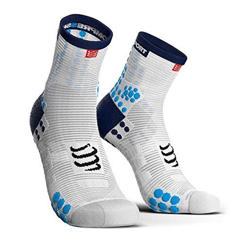 Compressport - Calcetines Running Altos PRSV3 - T3, azul y blanco
