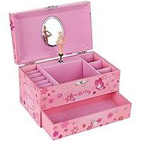 SONGMICS Joyero Musical Caja de Joyas con Bailarina y Espejo Organizador de Joyas Regalo para niñas (Pink)