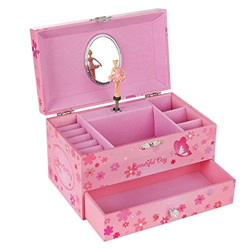 SONGMICS Musikspieldose, Spieluhr, Schmuckkästchen mit Schubladen und Spiegel, Aufbewahrung, Geschenk für Mädchen, rosa, JMC003PK