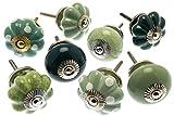 Türknauf-Set von Skandi Style Grün Keramik X Pack 8(mg-712)–'Mango Baum' TM eingetragenes Produkt