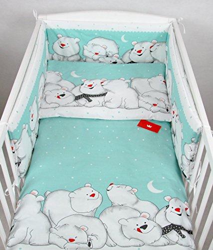 BABYLUX Kinderbettwäsche 2 Tlg. 90 x 120cm Bettwäsche Bettset Babybettwäsche (83. Eisbär Minze)