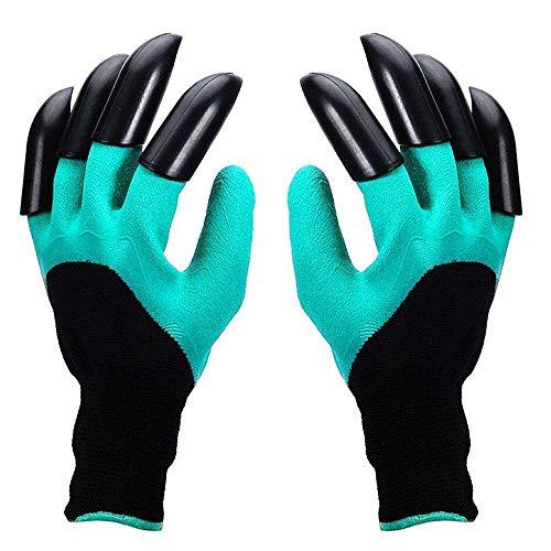 uhe mit ABS-Kunststoff krallen, Wasserdichte Garten Handschuhe für Graben Bepflanzen - Grün ()