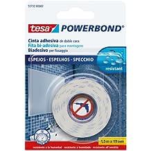 Tesa 55732-00002-02 Powerbond Nastro Biadesivo Forte per Specchi, 1,5m:19mm