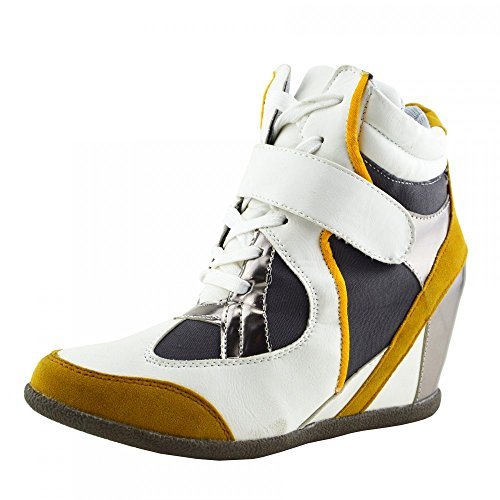 Kick Footwear - Donna Formatori Occasionali Sneakers Hi Top Pompe Stivali Lacci Di Scarpe Bianco