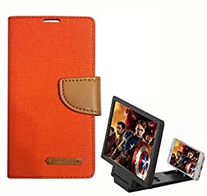 Aart Fancy Wallet Dairy Jeans Flip Case Cover for Asuszen-5 (Orange) + 3D SCREEN MAGNIFIER - HD VIDEO AMPLIFIER - with Stylish foldable holder stand by Aart Store.