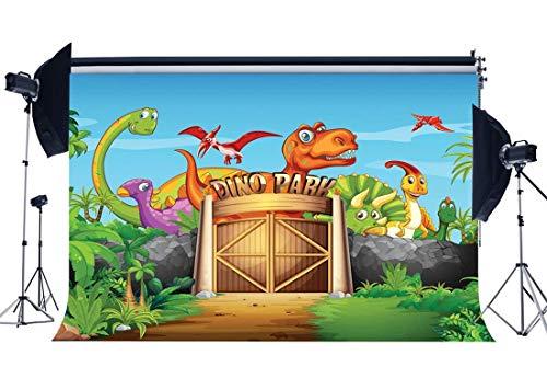 JoneAJ Dinosaurier Park Kulisse 7X5FT Vinyl Jurassic Kulissen Safari Party Zoo Dinosaurier Fotografie Hintergrund Jungen Geburtstag Dessert Tisch Wand Kinderzimmer Papier Foto Studio Requisiten