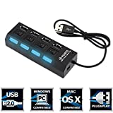 #9: RK TRONIX 4 Port Usb Hub 2.0 Ultra Speed With Individual On/Off Switches-Black