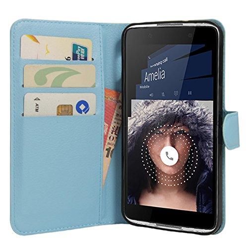 HualuBro BlackBerry DTEK50 Hülle, Premium PU Leder Leather Wallet HandyHülle Tasche Schutzhülle Flip Case Cover mit Karten Slot für BlackBerry DTEK50 Smartphone (Blau)