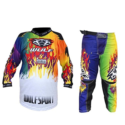 Kinder Anzug Motorrad Motocross ATV Quad MX Racing Sport Junior Bekleidung Bike Anzug für Kinder (3-13 Jahre, 20-30, Mehrere Farben) - Mehrfarben - 5-7 Jahre, 22-Taille (7 Bekleidung)
