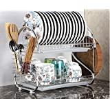 ROY ENTERPRISE Stainless Steel S Shape 2 Layer Kitchen Dish Drainer Organizer Storage Rack - Plate, Cutlery Utensil, Fruits a