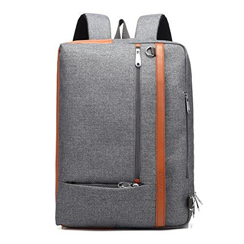 Aktentasche Rucksack Messenger Bag Notebook Schultertasche Business Briefcase Mehrzweck Umhängetasche Reisen Handtasche Backpack Laptop Tasche passend 17,3 Zoll für Herren / Damen (Grau) (Notebook-rucksack Aktentasche)